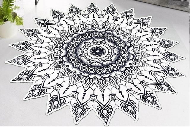 modele de covoare cu mandala, flori, simboluri, culori online magice