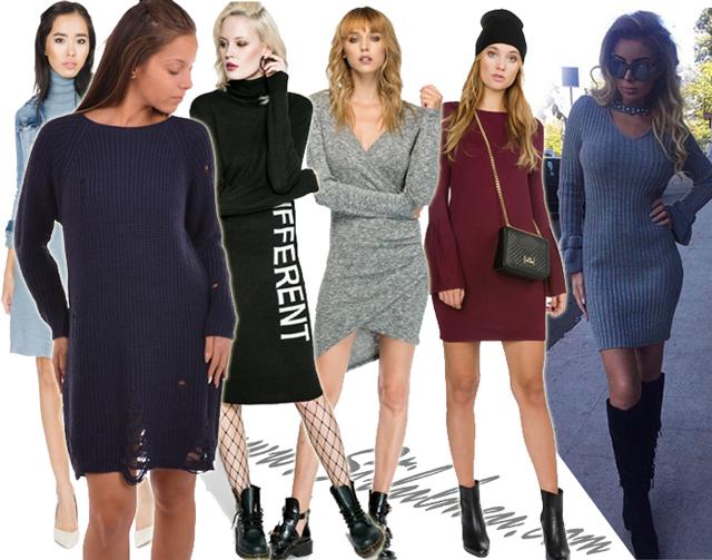 Modele de rochii pulover cu rupturi, asimetrice sau cu maneci evazate