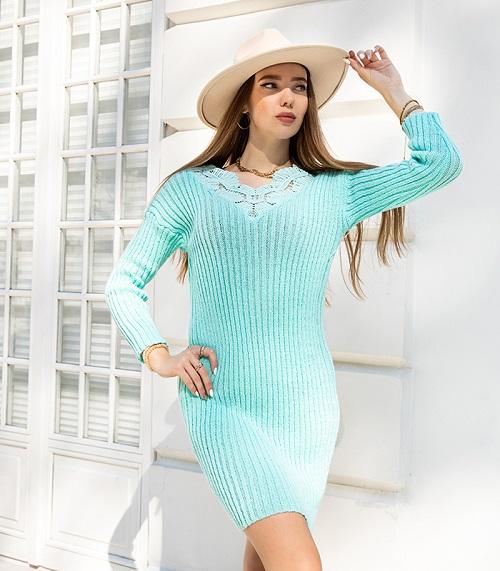 Rochie pulover midi cu dantela Menta