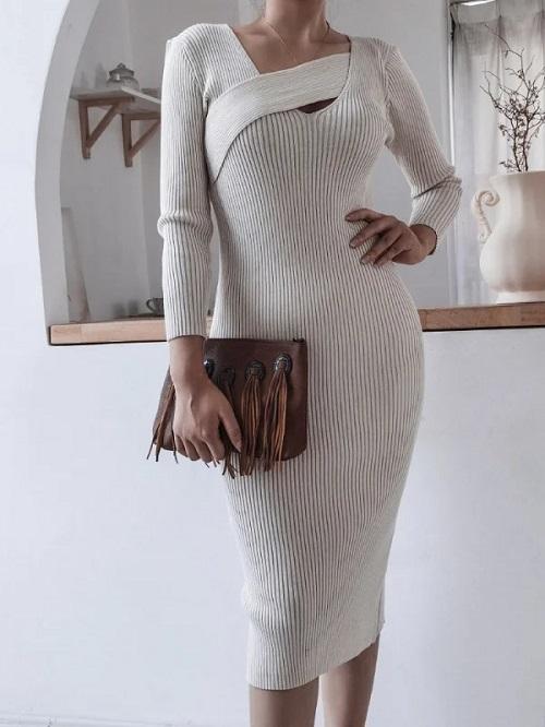 Rochie pulover tricotata midi cu decolteu in V Bej