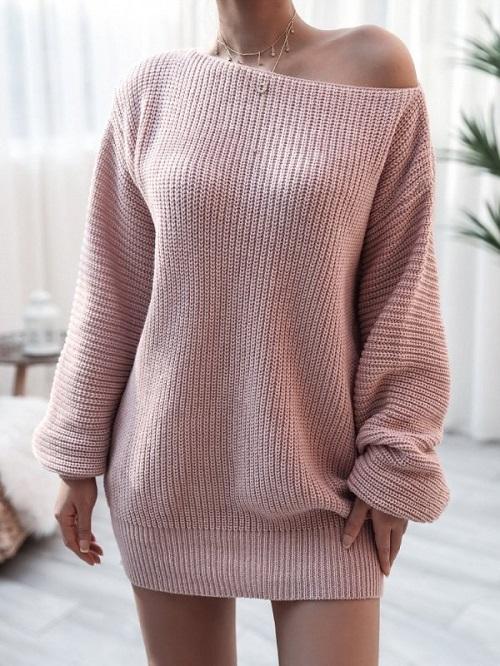 Rochie tricotata scurta roz