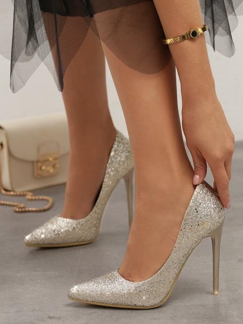 Pantofi dama stiletto ocazie aurii