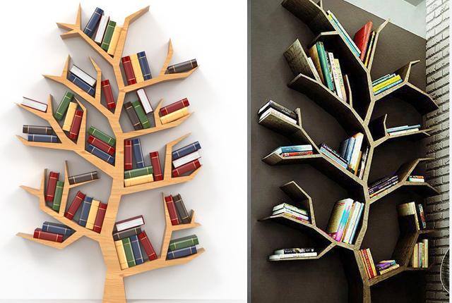 Idei minunate pentru a crea o minibiblioteca-arbore la tine in birou!