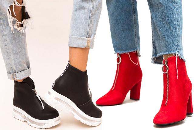 Trend alert - pantofi sport cu talpa groasa, cizme si ghete dama cu fermoar in fata!