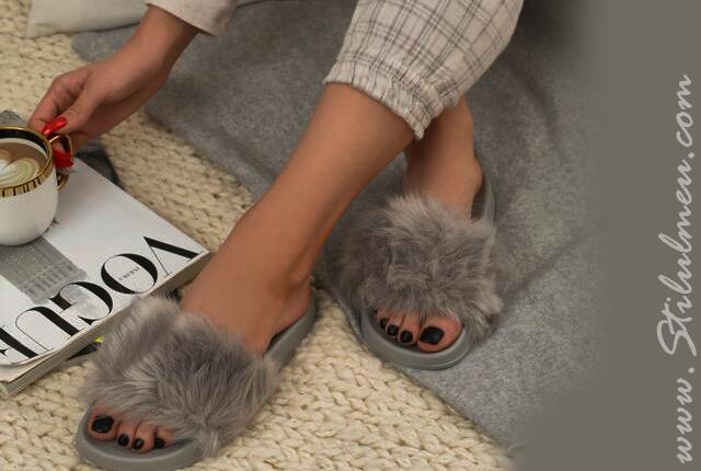 Papuci si sandale dama din blana online