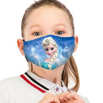 Masca protectie reutilizabila copii 2 straturi bumbac cu buzunar Elsa