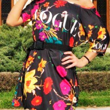 Rochie sport scurta de zi cu imprimeu floral Vogue Neagra