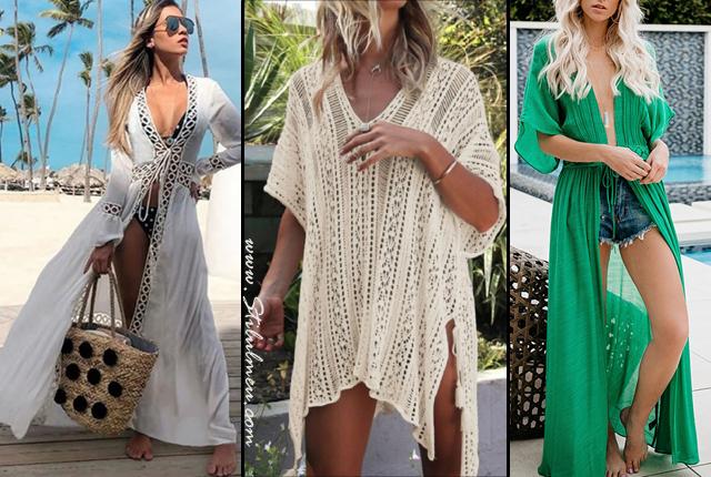 Modele de rochii de plaja tip plasa, pareo din voal sau dantela