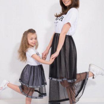 Set Rochii Mama-Fiica cu Fusta Tulle Amour Alb