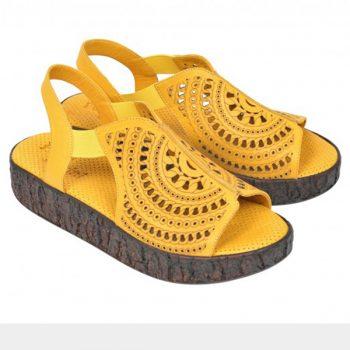 Sandale cu platforma din piele naturala FLAVIA PASSINI Galbene
