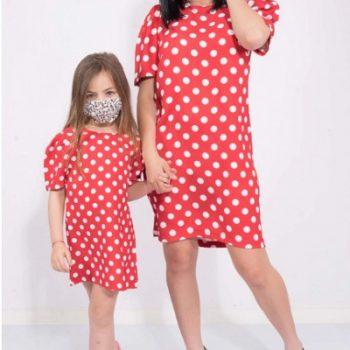 Set Rochii Mama-Fiica Rosie cu Buline Dots