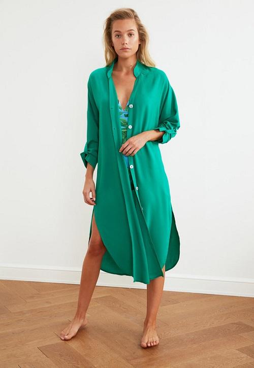 Rochie camasa de plaja-cu slituri laterale femei-Trendyol Verde smarald