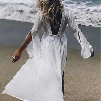 Rochie de plaja lunga OPHELIA alba