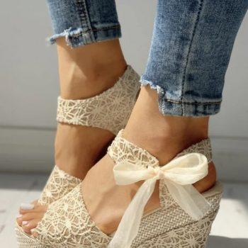 Sandale dama cu platforma din dantela crem Dalissa