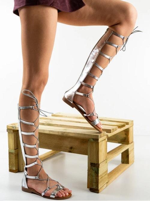 Sandale dama gladiator argintii lunfi cu fermoar la spate