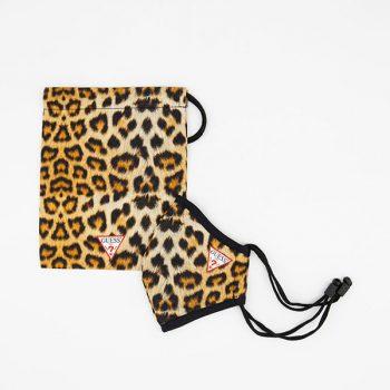 Masca de protectie reutilizabila cu snur reglabil logo Guess Animal print  + husa