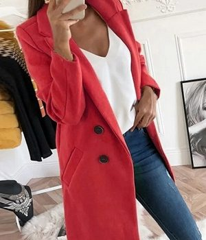Palton de dama elegant rosu Tilly