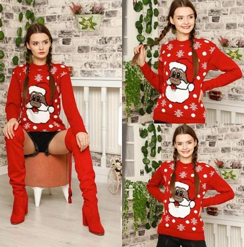 Pulover dama de Craciun pentru Sarbatorile de Iarna Santa Claus Rosu