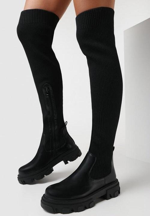 cizme lungi peste genunchi tip gheata material textil negre