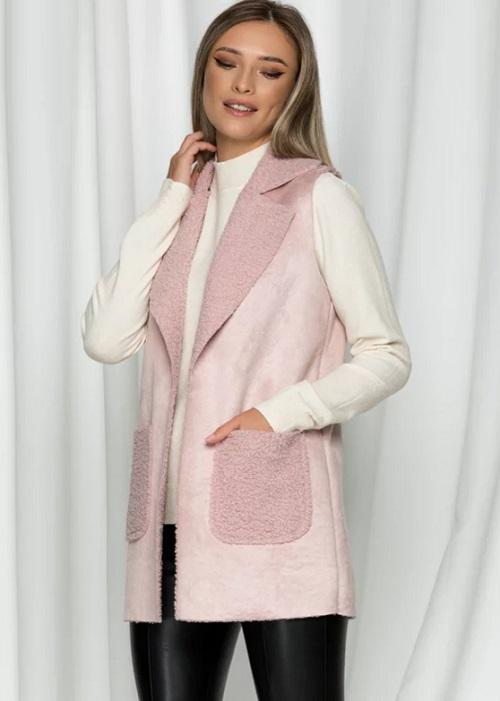 Vesta dama blanita cu aspect de lana de oaie Roz