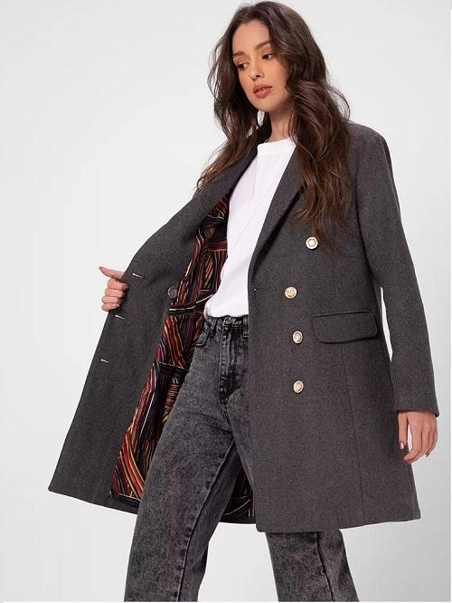 Palton dama scurt elegant Gri