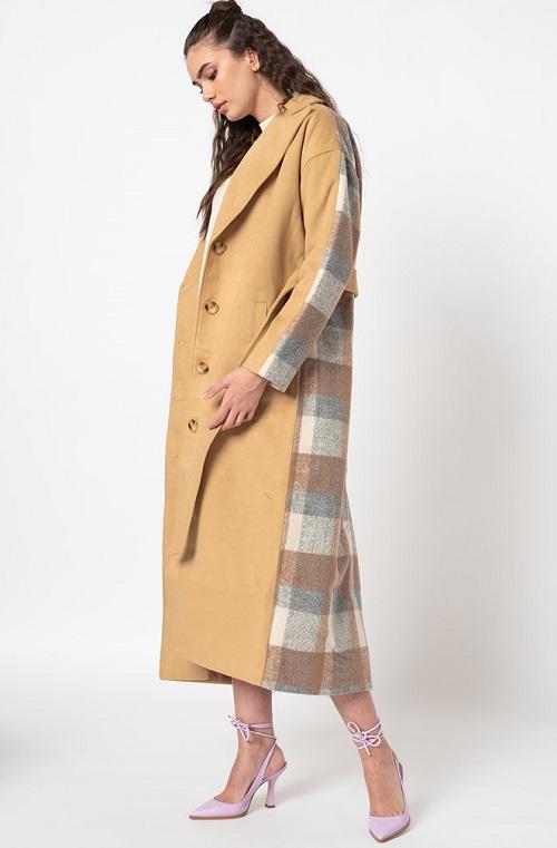 Palton dama lung cu segment in carouri Missguided Maro