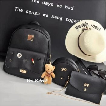 Set rucsac negru piele eco cu poseta portofel love lipstick promo1+1