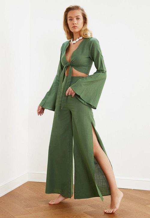 Set bluza crop si pantalon Trendyol Verde