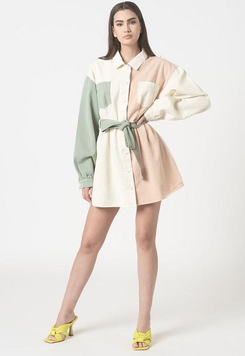 Rochie tip camasa in 3 culori cu maneci cazute Missguided alb/roz/verde