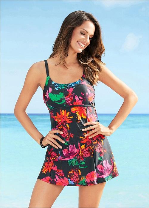Costum de baie rochita cu print vesel marimi 38-56