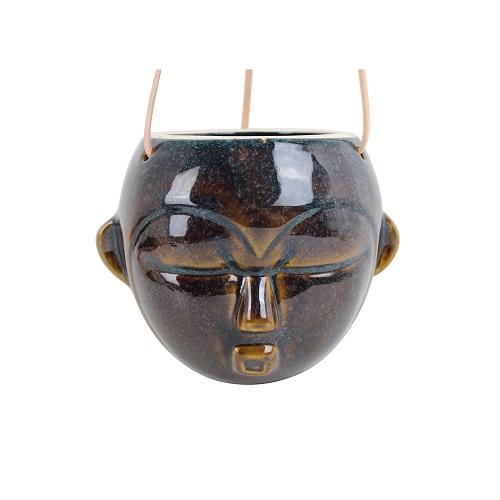 Ghiveci suspendat cu chip de om PT LIVING Mask, înălțime 15,2 cm maro