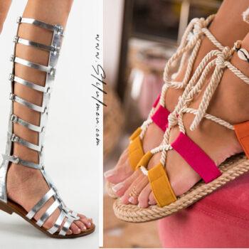 Sandale gladiator cu toc, fara toc sau cu platforma la moda online