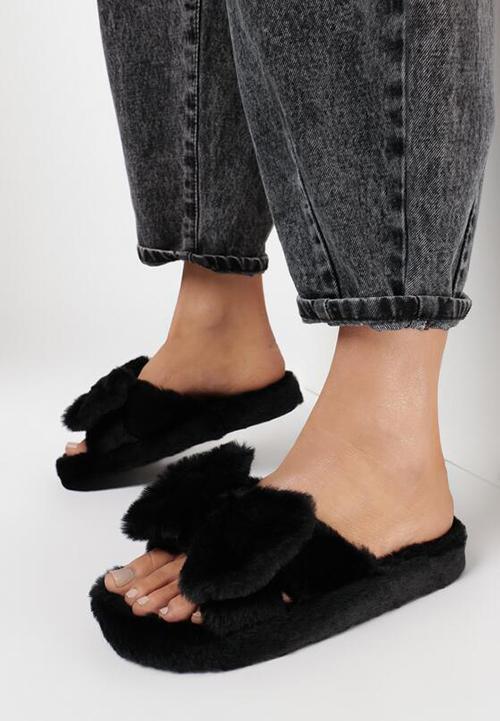 Papuci dama femei din blana ecologica cu fundita Negri