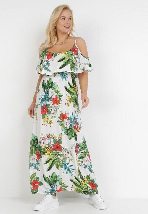 Rochie de vara cu umerii decupati si volan cu imprimeu floral Alba