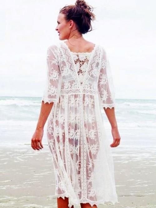 Rochie de plaja crosetata eleganta Alba