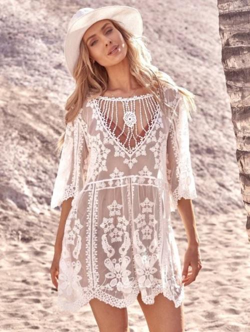 Rochie de plaja scurta din dantela cu margele SINA Alba