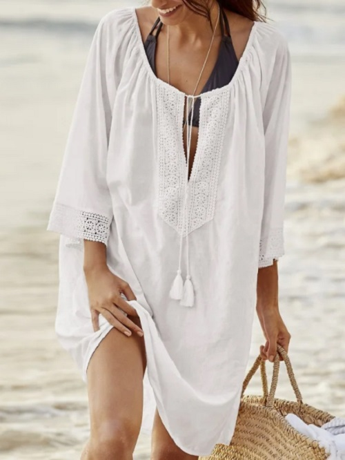 Rochie de plaja bumbac Charlisa Alba