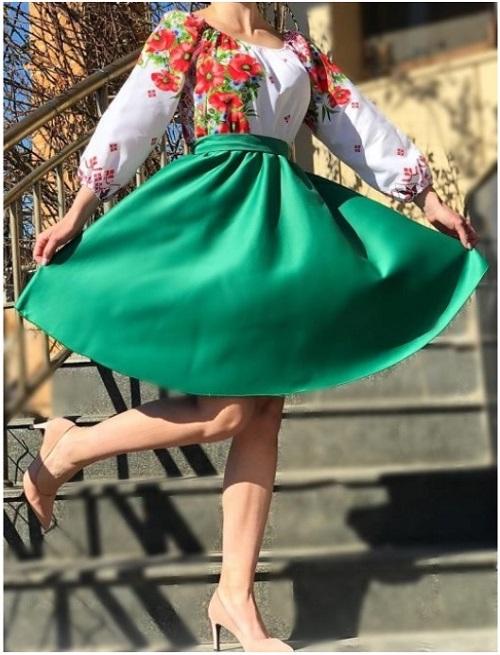 Rochie traditionala de vara cu maci 9 Verde