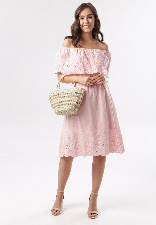 Rochie de vara vaporoasa cu volan cazut de pe umeri Roz pudrat