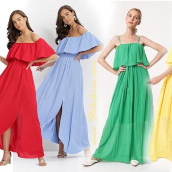 Alege rochii cu volane de vara vaporoase fara umeri, lungi sau scurte, in culori fresh!