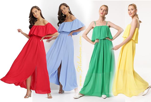 rochii cu volane de vara vaporoase fara umeri, lungi sau scurte