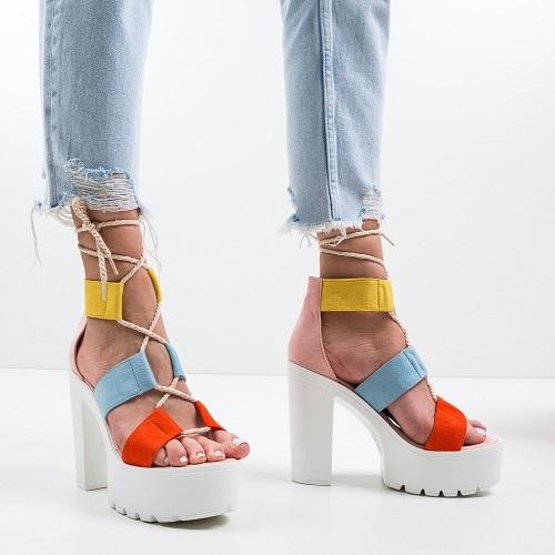 Sandale dama gladiator cu platforma 5cm Izurc Roz