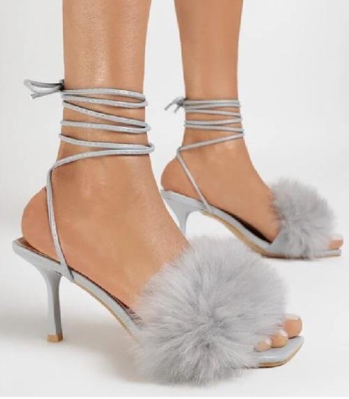 Sandale dama cu toc din blana ecologica Gri