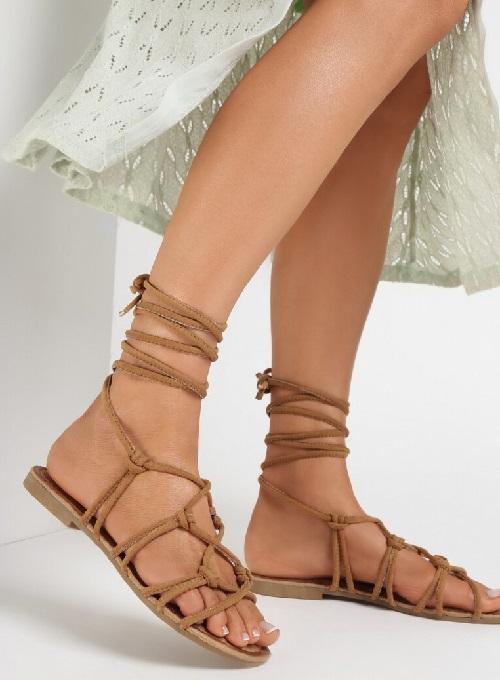 Sandale dama sfoara tip gladiator cu talpa joasa Camel