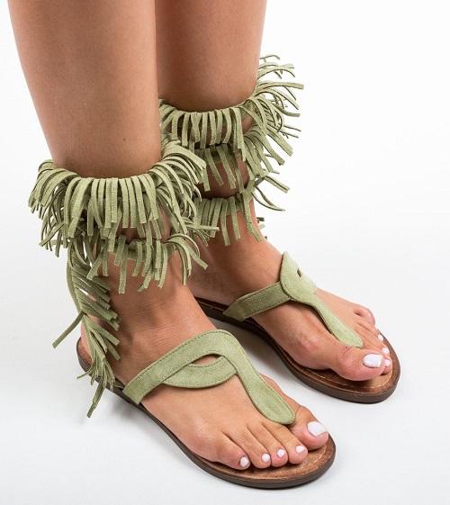 Sandale dama gladiator fara toc cu franjuri Riddle Verzi