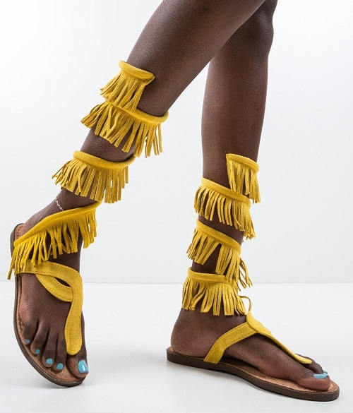 Sandale dama gladiator cu franjuri Riddle galbene