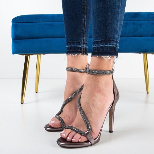 Sandale dama cu toc Cardon Argintii