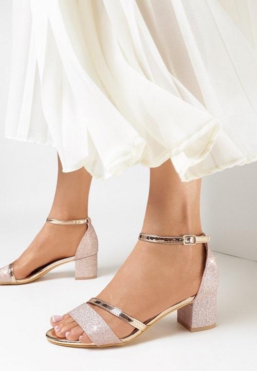 Sandale dama de ocazie cu toc mic patrat Argintii