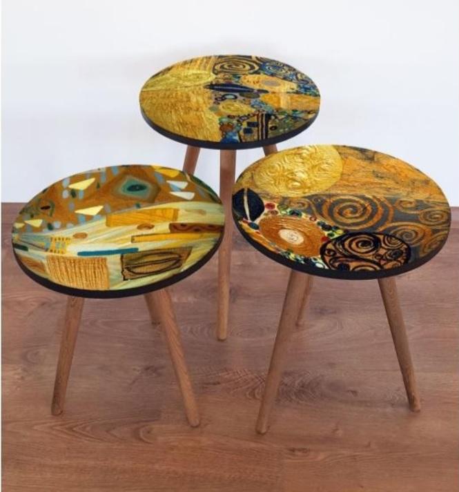 Set 3 masute de cafea din lemn pictate Copacul Vietii