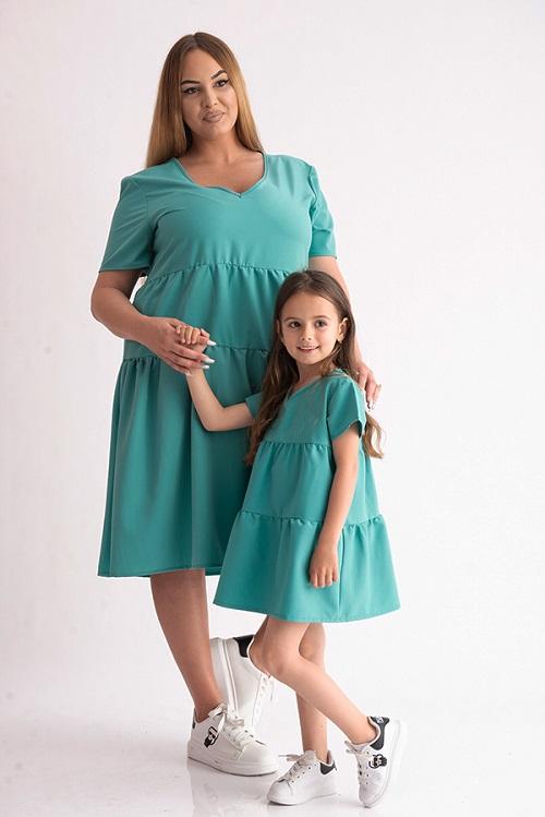 Set 2 rochii mama fiica cu volane turcoaz